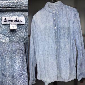$198 Steven Alan Chambray patterned jean shirt L